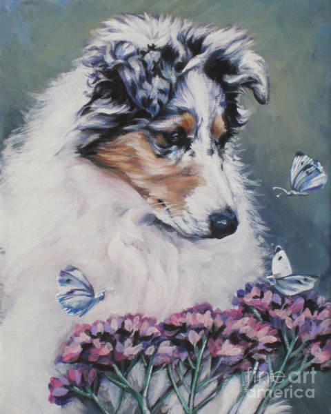 Collie Painting - Blue Merle Collie Pup by Lee Ann Shepard