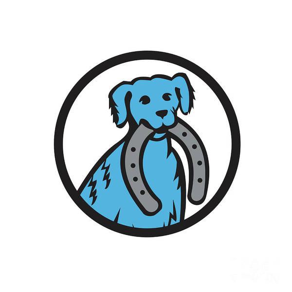 Horseshoe Digital Art - Blue Merle Dog Biting Horseshoe Circle Retro by Aloysius Patrimonio