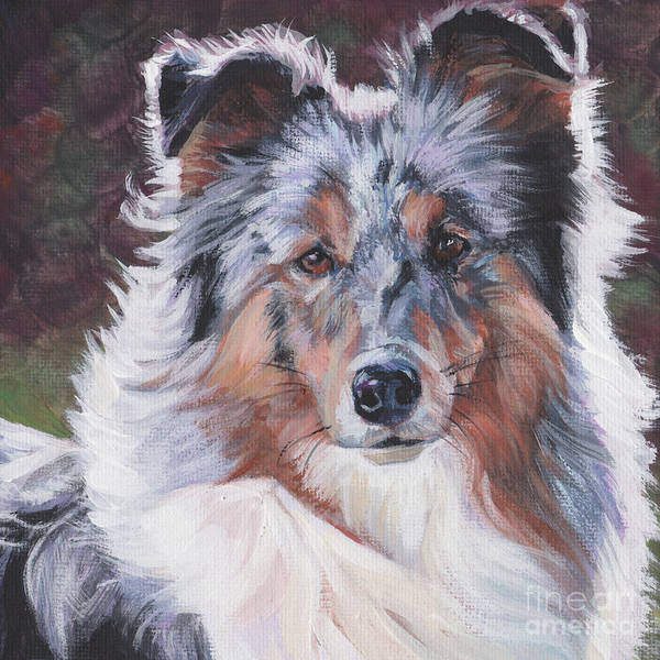 Wall Art - Painting - Blue Merle Sheltie by Lee Ann Shepard