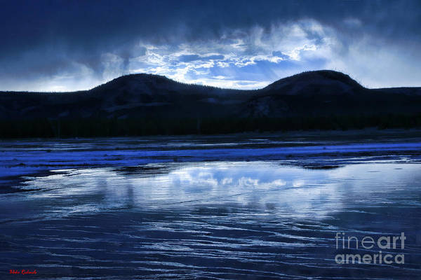 Photograph - Blue Midway Geyser Basin Mountains by Blake Richards