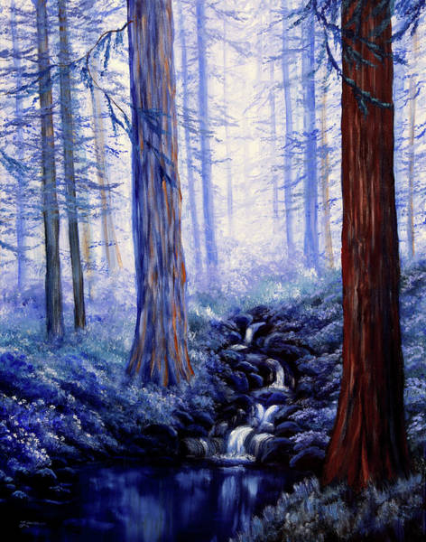 Wall Art - Painting - Blue Misty Morning In The Redwoods by Laura Iverson