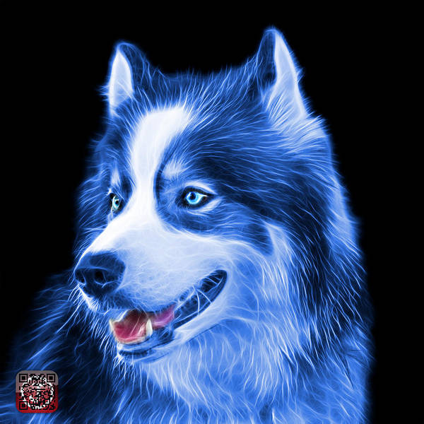 Painting - Blue Modern Siberian Husky Dog Art - 6024 - Bb by James Ahn