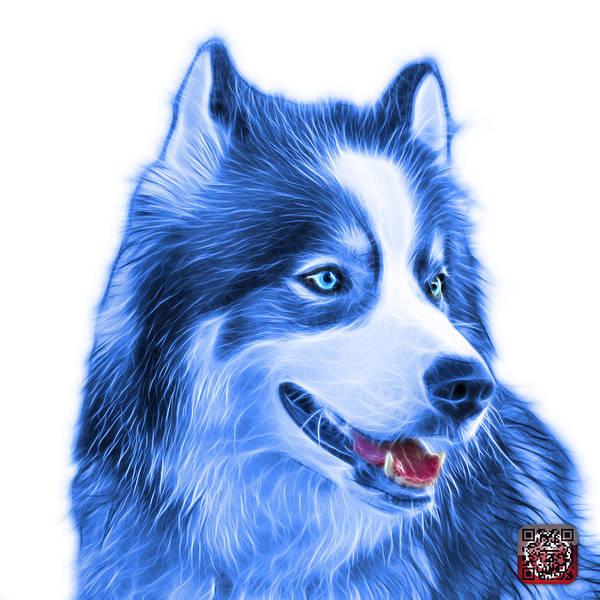 Painting - Blue Modern Siberian Husky Dog Art - 6024 - Wb by James Ahn