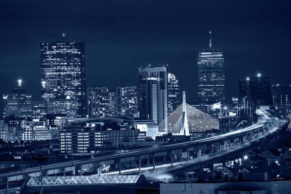 Photograph - Blue Monochrome The Boston Skyline Boston Ma by Toby McGuire