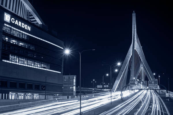 Photograph - Blue Monochrome Zakim Bridge And Td Garden Boston Ma Long Exposure by Toby McGuire