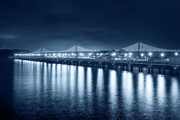 Photograph - Monochrome Blue Bay Bridge San Francisco California by Toby McGuire