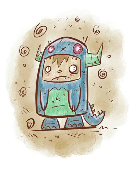Monster Wall Art - Digital Art - Blue Monster Boy #2 by Cesar Diaz