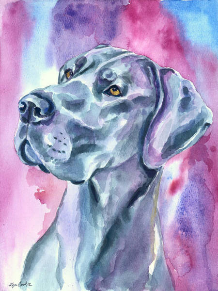Wall Art - Painting - Blue Mood - Great Dane by Lyn Cook
