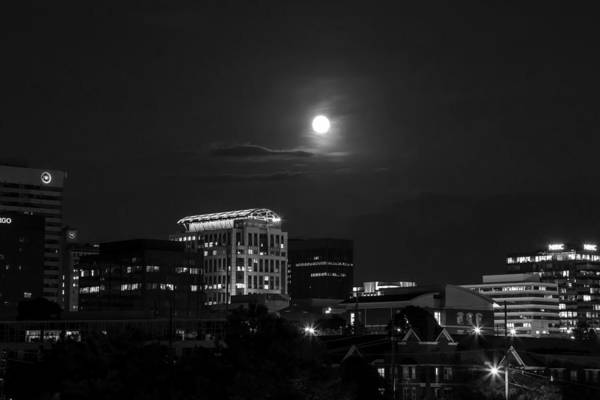 Photograph - Blue Moon 2015 Bw by Charles Hite