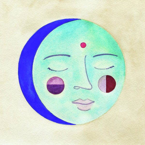 Moon Painting - Blue Moon by Clary Sage Moon