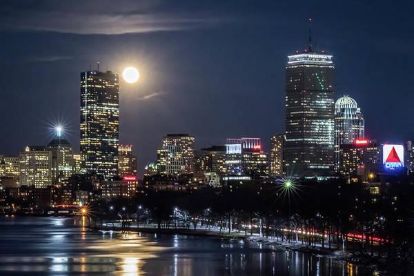 Photograph - Blue Moon Over Boston by Kristen Wilkinson