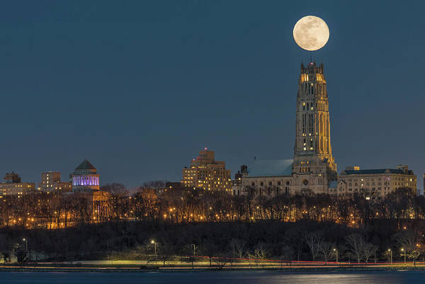Photograph - Blue Moon Over Cathedral Of Saint John Nyc by Susan Candelario