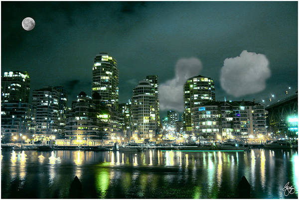 Photograph - Blue Moon Over Vancouver by Wayne King