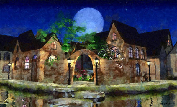 Wall Art - Digital Art - Blue Moon Painted by Cynthia Decker