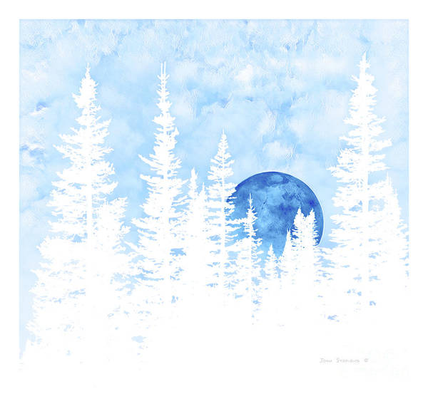 Wall Art - Photograph - Blue Moonrise Fantasy Forest Pastel by John Stephens