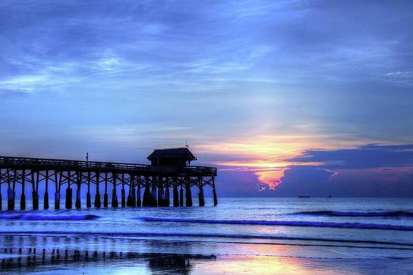 Photograph - Blue Morning Over Cocoa Beach Pier by Carol Montoya