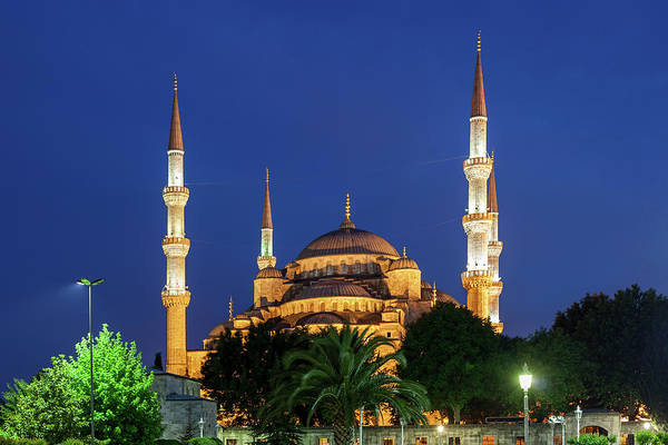 Sultan Ahmet Camii Wall Art - Photograph - Blue Mosque At Night In Istanbul by Artur Bogacki