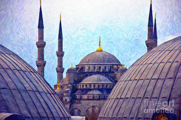 Cupola Digital Art - Blue Mosque From Hagia Sophia Digital Painting by Antony McAulay