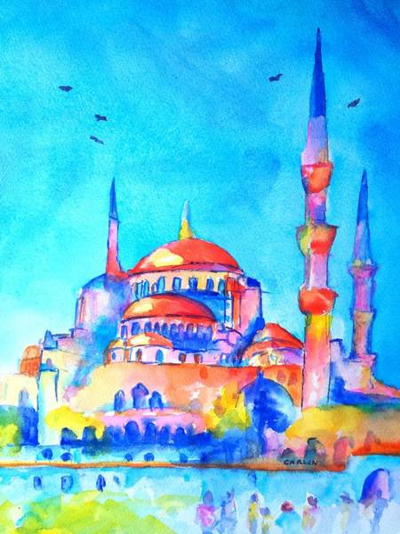 Istanbul Painting - Blue Mosque In Orange by Carlin Blahnik CarlinArtWatercolor