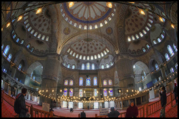 Mosque Photograph - Blue Mosque Interior by Joan Carroll