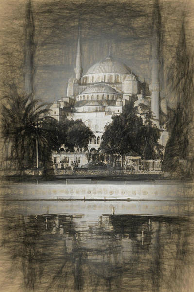 Wall Art - Photograph - Blue Mosque - Sketch by Stephen Stookey