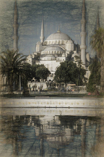 Wall Art - Photograph - Blue Mosque - Vintage Blue Sketch by Stephen Stookey