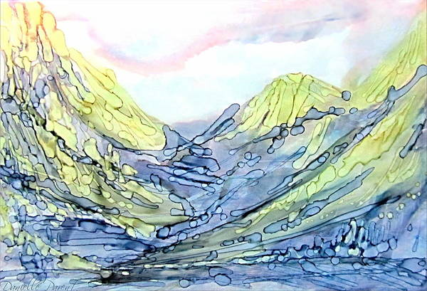 Blue Mountains Alcohol Inks  Art Print