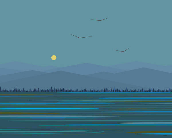 Semis Digital Art - Blue Mountains - With Birds by Val Arie