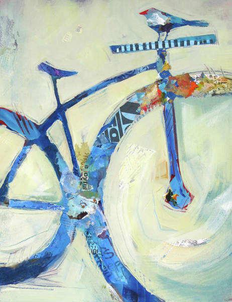 Painting - Blue Mt Bike And Bird by Shelli Walters