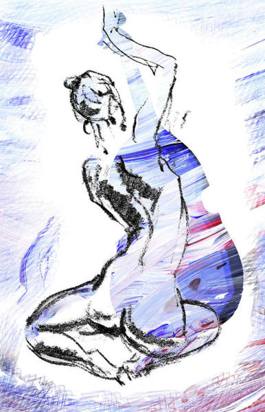 Blue Music Nude Playing Cello Art Print