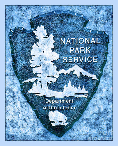Wall Art - Photograph - Blue National Park Service Logo by John Stephens