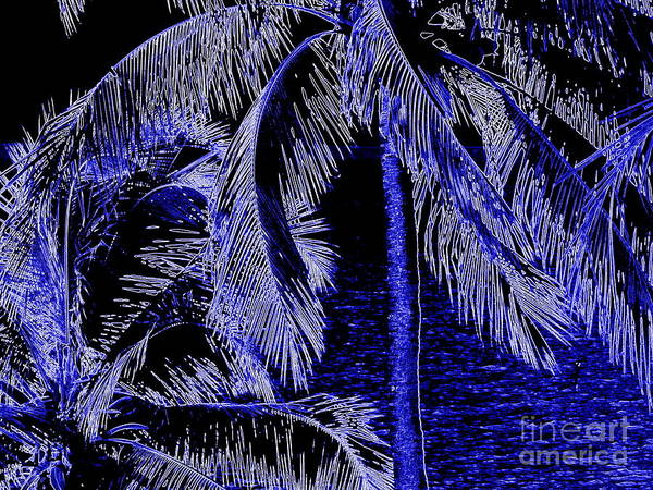 Cell Phone Cases Mixed Media - Blue Neon Palms 3 by Jennifer Capo
