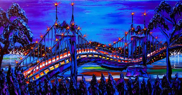 Wall Art - Painting - Blue Night Of St. Johns Bridge 37 by Dunbar's Modern Art