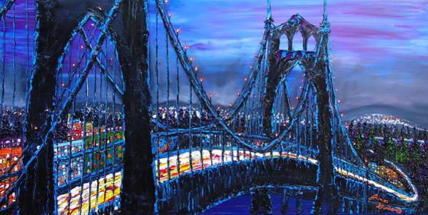 Wall Art - Painting - Blue Night Of The St. Johns Bridge 2 by Dunbar's Modern Art