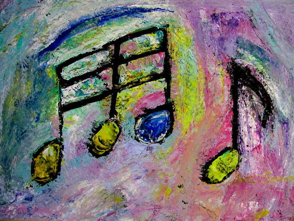 Musical Theme Painting - Blue Note by Anita Burgermeister