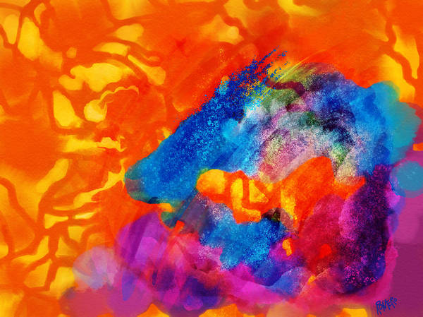 Wall Art - Digital Art - Blue On Orange by Antonio Romero
