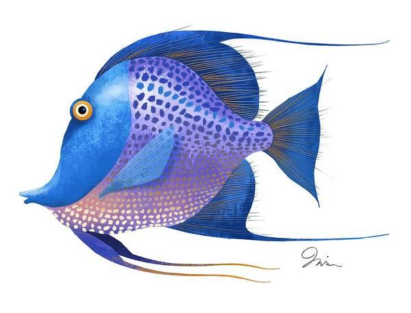 Sea Life Digital Art - Blue On White by Trevor Irvin