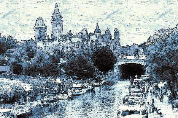 Beautiful Park Drawing - Blue Ottawa Skyline - Water Color by Peter Potter