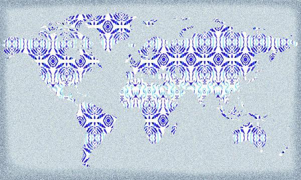 Painting - Blue Pattern World Map Silhouette  by Irina Sztukowski