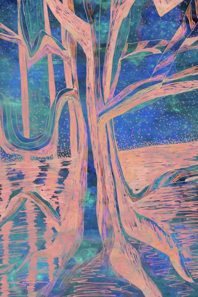 Blue-peach Dawn River Tree Art Print
