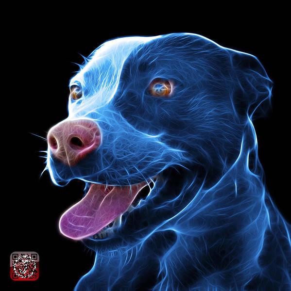 Mixed Media - Blue Pit Bull Fractal Pop Art - 7773 - F - Bb by James Ahn
