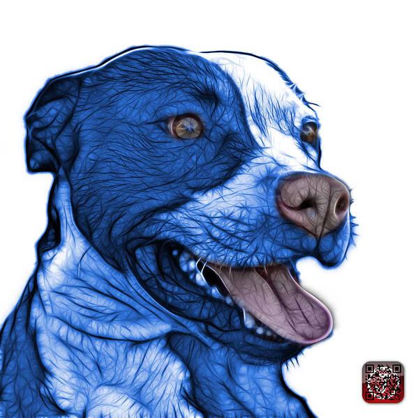 Mixed Media - Blue Pit Bull Fractal Pop Art - 7773 - F - Wb by James Ahn