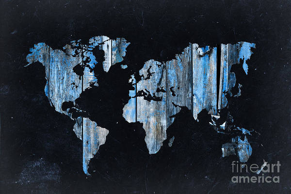 Wood Planks Photograph - Blue Planks On Black World Map by Delphimages Photo Creations
