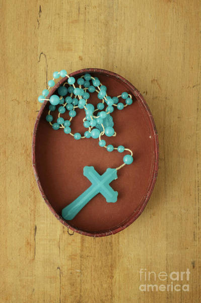 Wall Art - Photograph - Blue Plastic Rosary In Oval Box by Edward Fielding