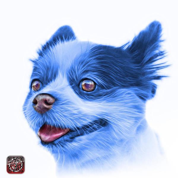 Painting - Blue Pomeranian Dog Art 4584 - Wb by James Ahn