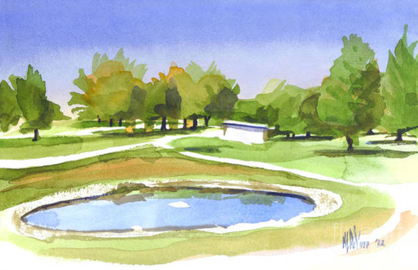 Wall Art - Painting - Blue Pond At The A V Country Club by Kip DeVore