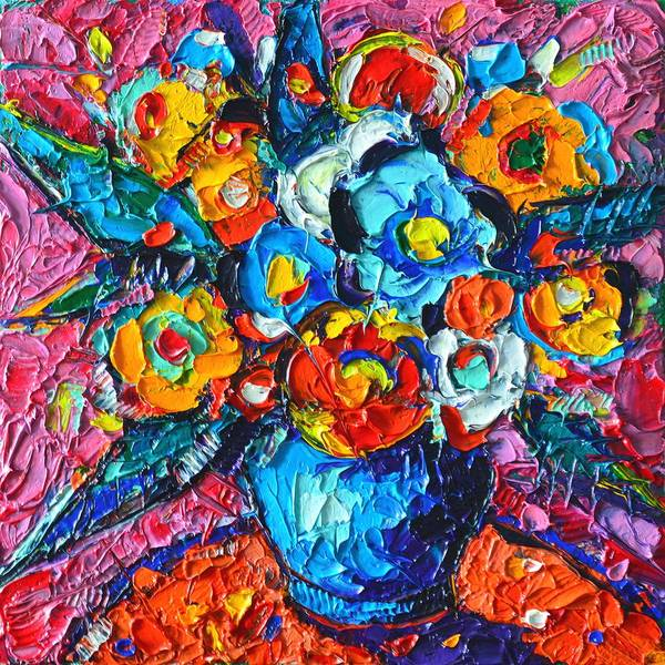 Painting - Blue Poppies And Wildflowers Modern Impressionist Palette Knife Oil Painting By Ana Maria Edulescu   by Ana Maria Edulescu