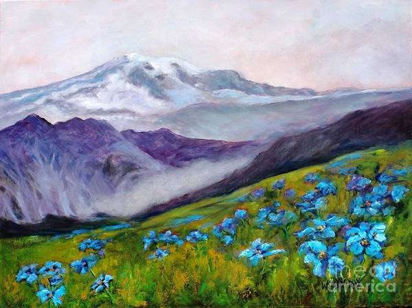 Blue Poppy Field Art Print