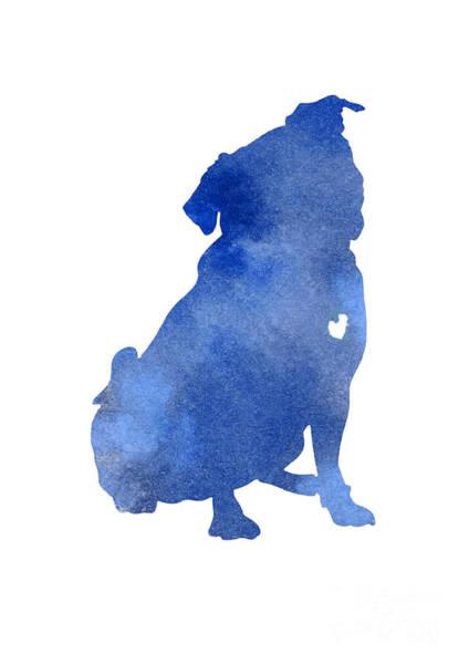 Wall Art - Painting - Blue Pug Dog Watercolor Silhouette by Joanna Szmerdt