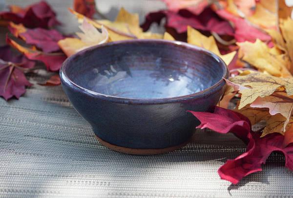 Stoneware Wall Art - Ceramic Art - Blue Purple Bowl  by Suzanne Gaff